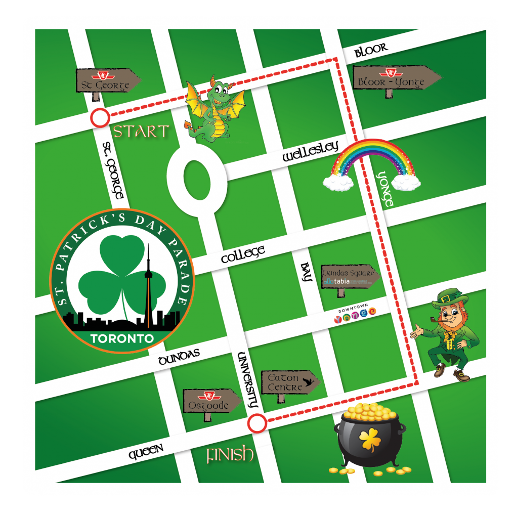 St Patrick's Parade Toronto Route Map